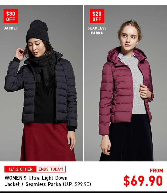 UP $30 OFF! Shop Women's Ultra Light Down Seamless Parka / Jacket from $69.90