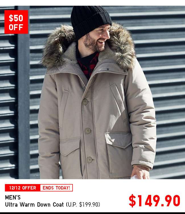 $50 OFF! Shop Men's Ultra Warm Down Coat at $149.90