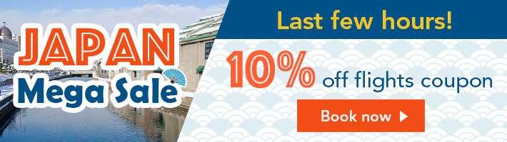 Last few hours! 10% off flights coupon!