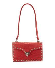 Valentino Garavani Alligator-Embossed Shoulder Bag, Red
