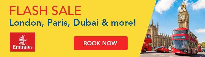 Flash Sale:London, Paris, Dubai and more!