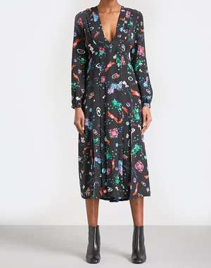RIXO Camellia V-neck silk midi dress