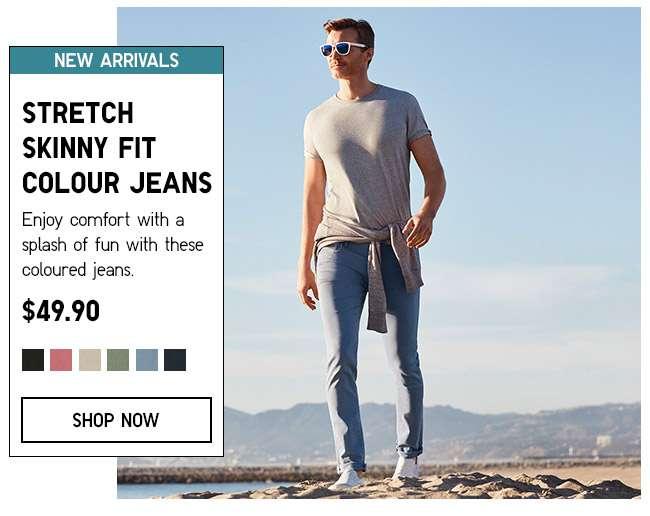 Shop Men's Stretch Skinny Fit Colour Jeans