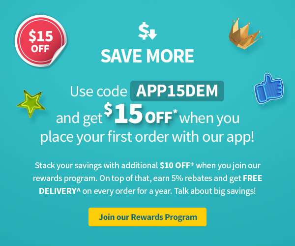 Save more this year with $25 off your first order! Use APP15DEM to get $15 OFF, and stack $10 OFF when you join liveup! On top of that, earn 5% rebates and get free delivery on every order for a year. Talk about big savings!