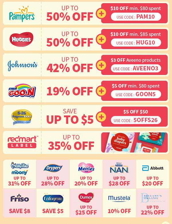 Up to 50% OFF Pampers and Huggies, discounts on S-26, Johnson's , and RedMart label baby products!