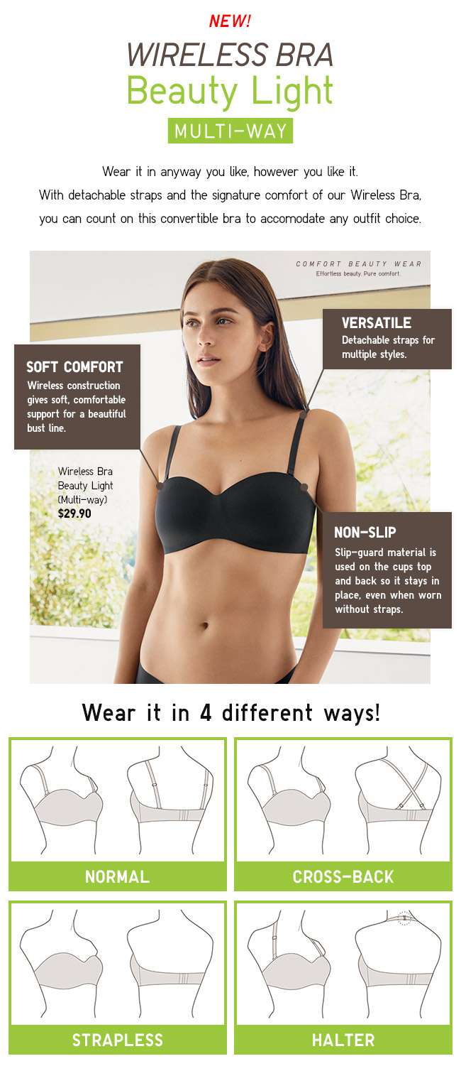 Comfort Beauty wear. New Wireless Bra Beauty Light Multi-way.