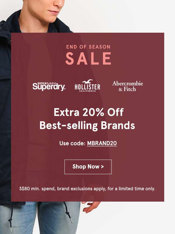 Extra 20% off Best-selling brands. Use code: MBRAND20. min spend 80. brand exclusions apply. Shop now.