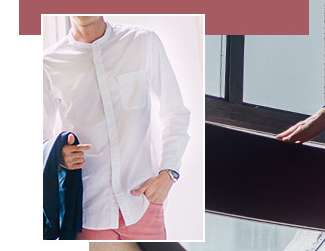 Men's Extra Fine Cotton Stand Collar Long Sleeve Shirt