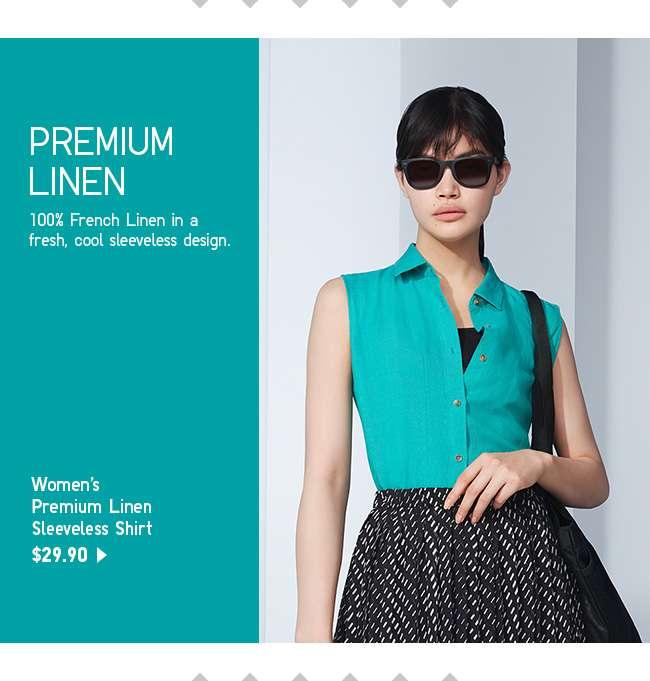 Shop Women's Premium Linen Sleeveless Shirt at $29.90