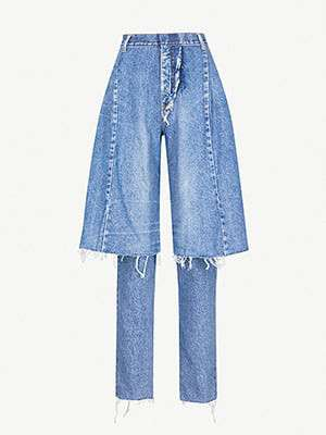 KSENIA SCHNAIDER Demi-Denim layered jeans