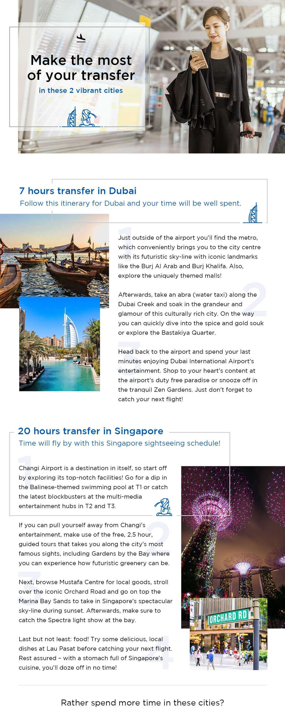 How to spend your transfer in Dubai and Singapore