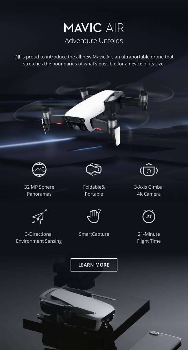 DJI is proud to introduce the all-new Mavic Air, an ultraportable device that stretches the boundaries of what's possible for a drone this size.
