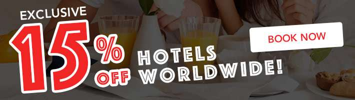 15% off hotels worldwide