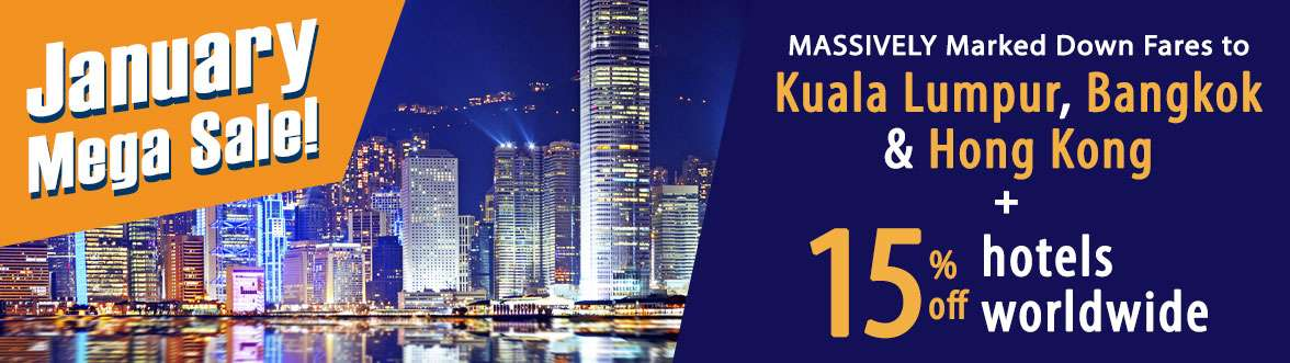 MASSIVELY Marked Down Fares + 15% off hotels worldwide!