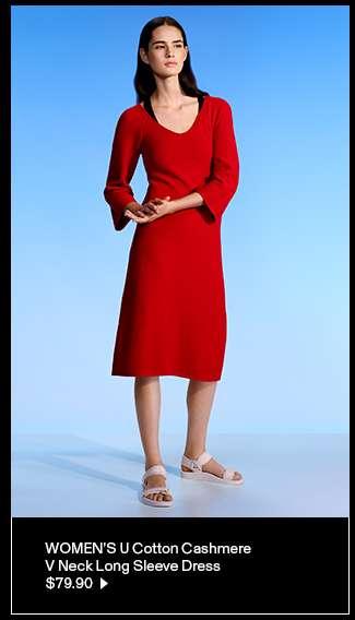 Women's U Cotton Cashmere V Neck Long Sleeve Dress at $79.90