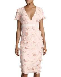 FEW MODA Floral-Lace V-Neck Dress, Pink