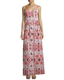 Parker Smocked-Back Graphic-Print Maxi Dress, White Pattern