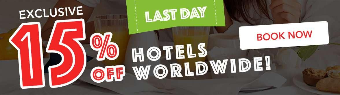 15% off hotels worldwide