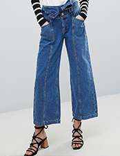 River Island Belted Crop Wide Leg Jeans
