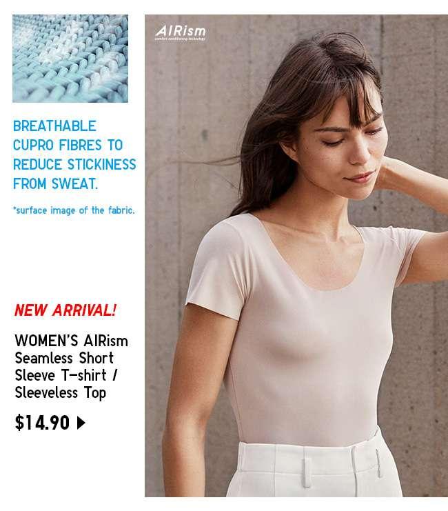 Shop Women's AIRism Seamless Short Sleeve T-shirt / Sleeveless Top at $14.90