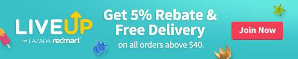 Earn 5% rebates and get FREE delivery on all orders above $40 when you join our LiveUp rewards program