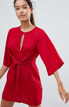 Missguided Round Neck Tie Front Dress
