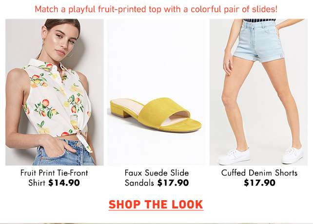 Match a playful fruit-printed top with a colorful pair of slides! - Shop the Look