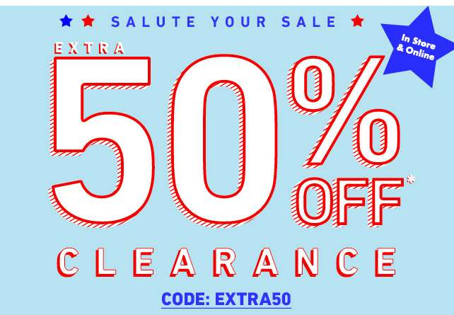 Extra 50% off clearance* - Code:EXTRA50 - Ends on February 19th