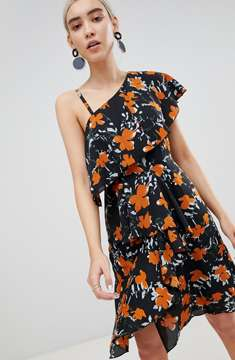 Boohoo Floral One Shoulder Tiered Dress