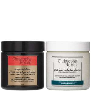 Christophe Robin Cleansing Purifying Sea Salt Scrub (250ml) and Regenerating Mask with Rare Prickly Pear Seed Oil (250ml)