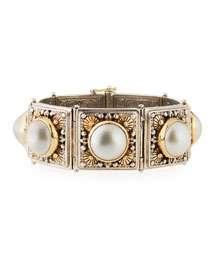 Konstantino Silver & 18k Pearl Square-Link Bracelet