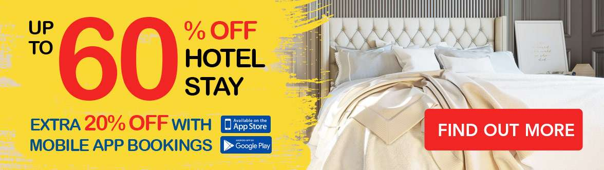 Get discounts to amazing hotel stays worldwide for up to 60% OFF + Additional 20% OFF!