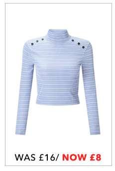 PETITE Blue Button Roll Neck T-Shirt