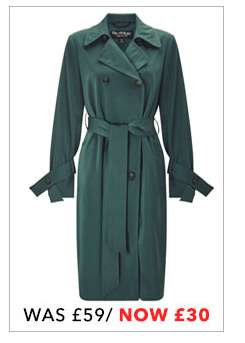 Green Double-Breasted Trench Coat