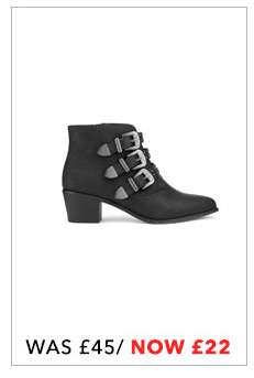 DAISY Black Triple Buckle Boots
