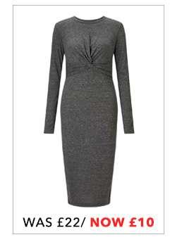 Long Sleeve Twist Midi Bodycon Dress