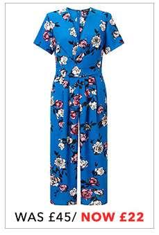 Blue Floral Print Twisted Jumpsuit