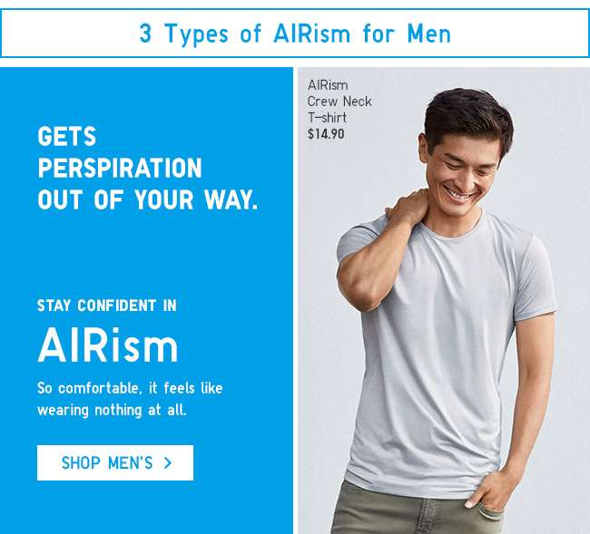Stay confident in Men's AIRism.