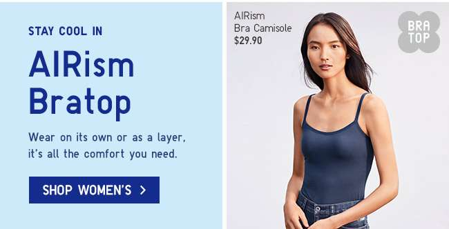 Stay cool in Women's AIRism Bratop.