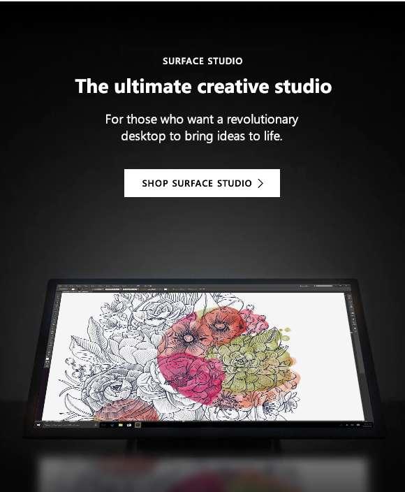 Surface Studio. The ultimate creative studio. Shop Surface Studio.