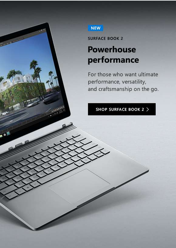 Surface Book 2. Powerhouse performance. Shop Surface Book 2.