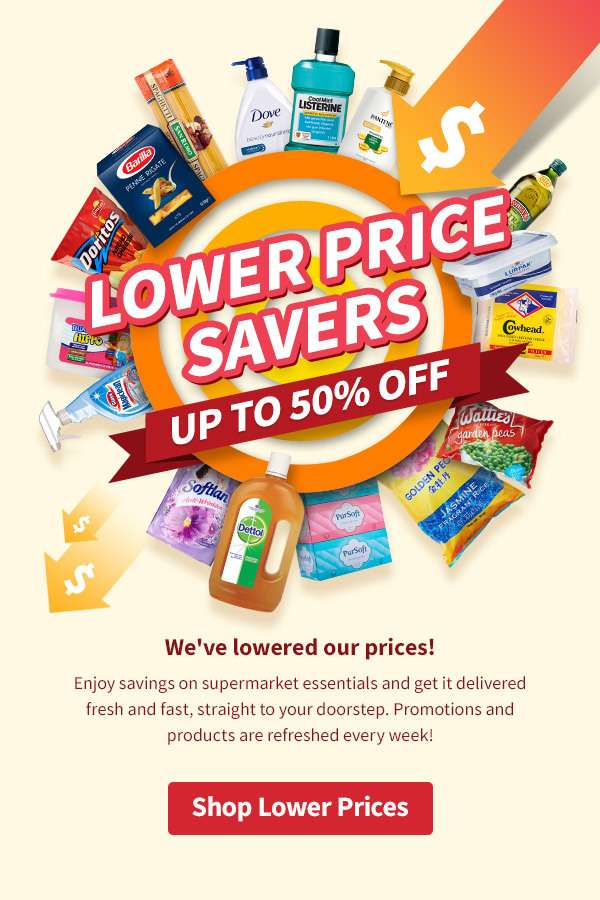 We've lowered our prices! Enjoy savings on supermarket essentials and get it delivered fresh and fast, straight to your doorstep. Promotions and products are refreshed every week!
