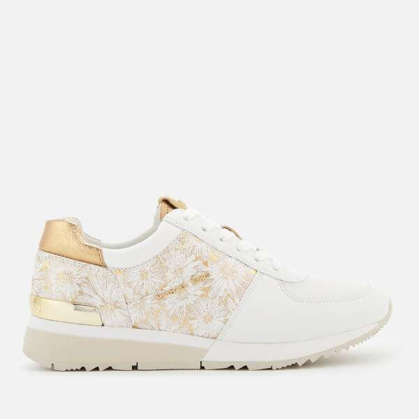 MICHAEL MICHAEL KORS Women's Allie Metallic Flower Trainers - Optic White/Gold