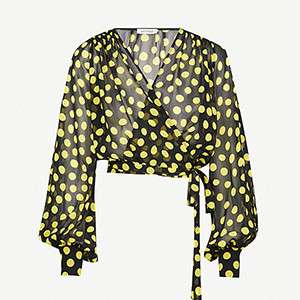 ATTICO                                                          Polka-dot silk wrap top
