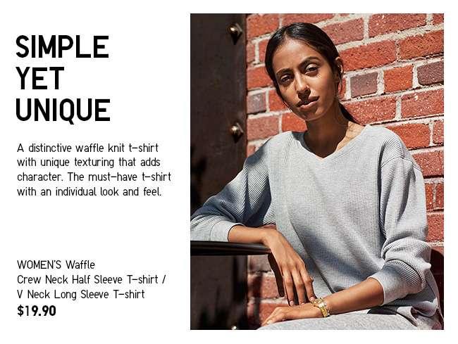 Women's Waffle V Neck Long Sleeve T-shirt at $19.90