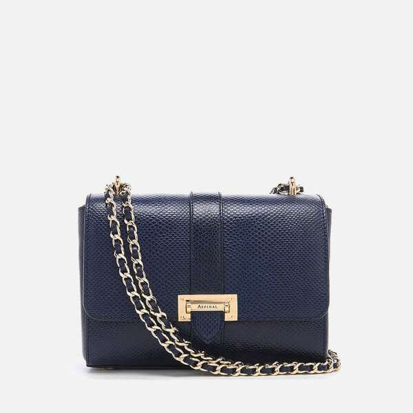 Aspinal of London Women's Lottie Bag - Midnight Blue Lizard