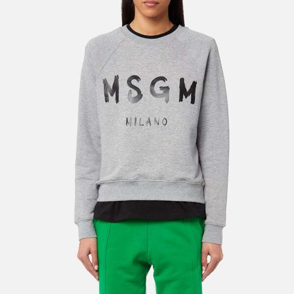 MSGM Women's Graffitti Logo Sweatshirt - Grey