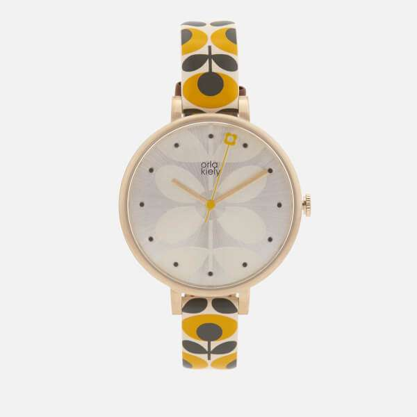 Orla Kiely Women's Ivy Print Leather Watch - Yellow: Image 01