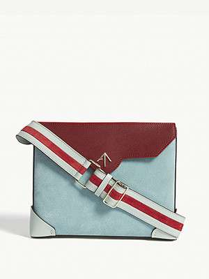 MANU ATELIER  Bold leather and suede shoulder bag