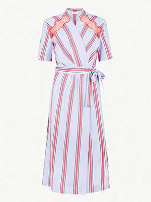 SANDRO                                                                                      Striped midi wrap dress